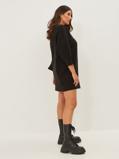 Boat-neck knitted tunic dress