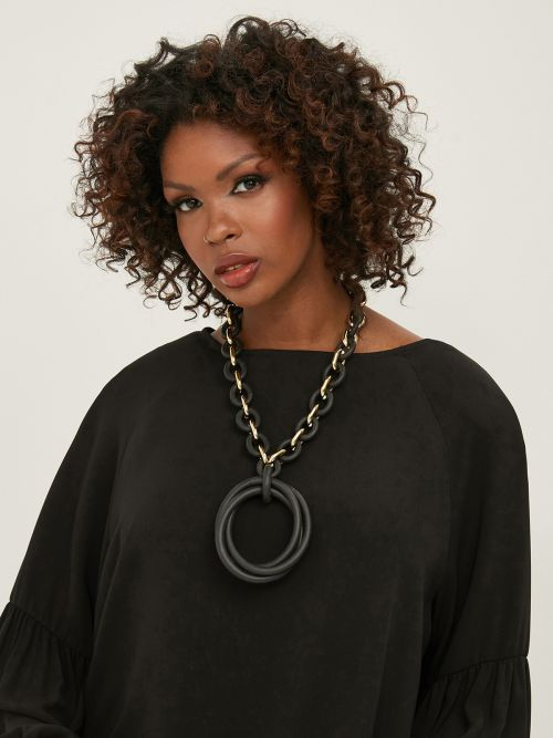 Chain & rubber necklace with circles
