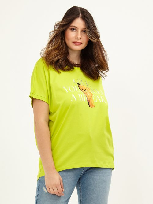 Cotton printed t-shirt in lime