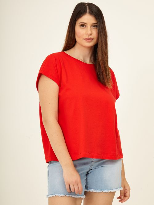 Cotton scoop neck top in red