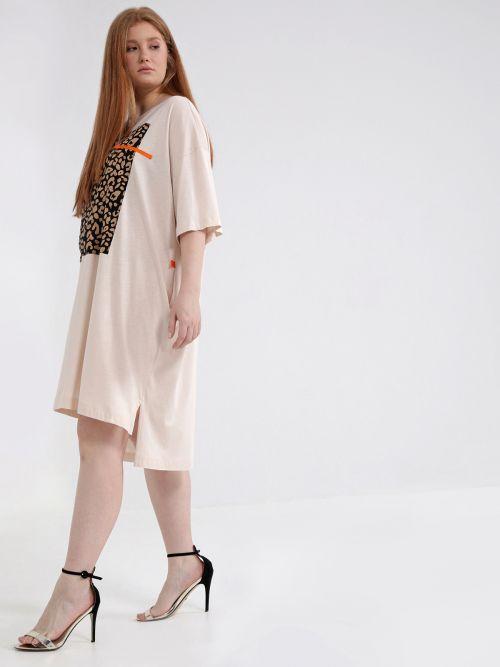 Cotton t-shirt dress with animal print