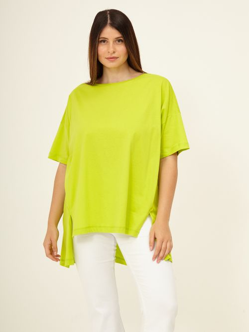 Cotton t-shirt with dipped hem