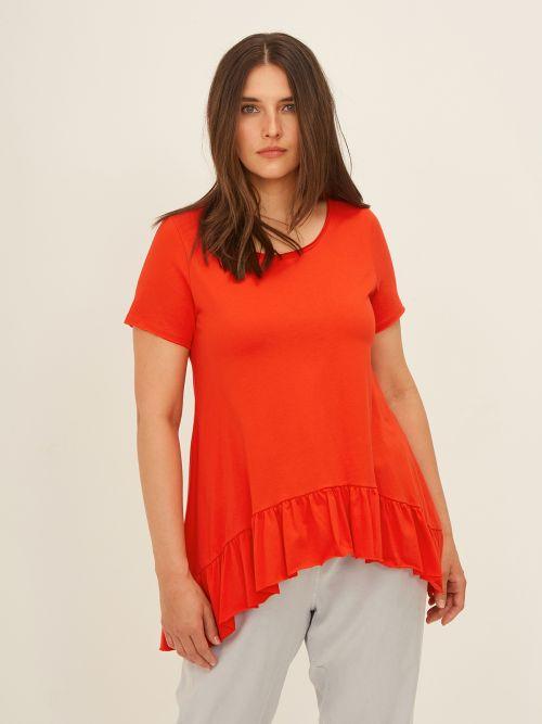 Cotton t-shirt with peplum hem
