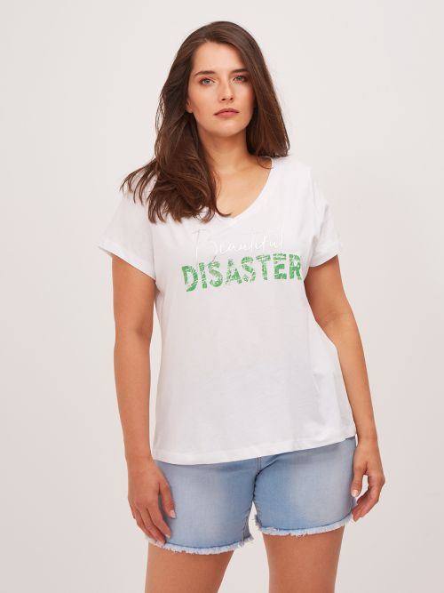 'Beautiful Disaster' cotton t-shirt in white