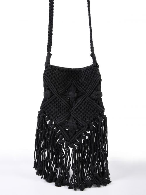 Crochet tote bag with fringing
