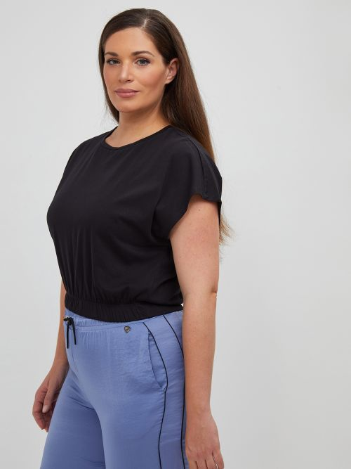 Cropped top with shoulder pads