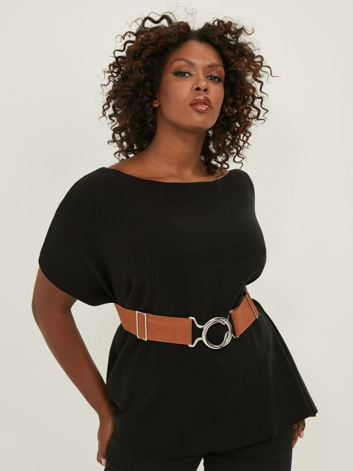 Elastic belt with circle buckle