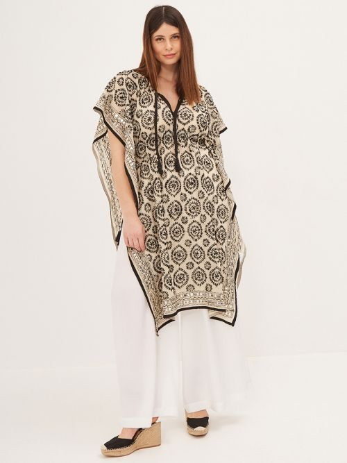 Embroidered kaftan with ties