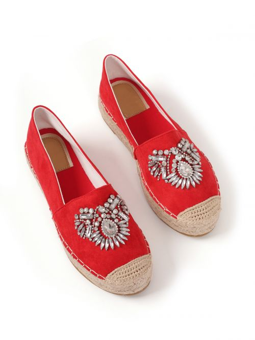 Crystal-embellished espadrilles in red canvas