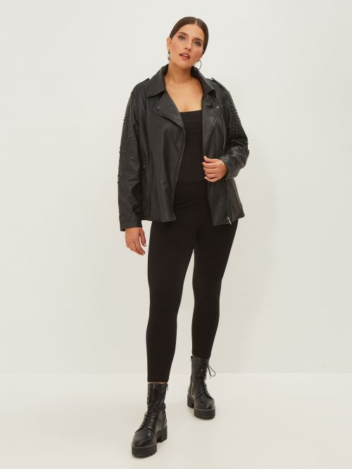 Faux leather biker jacket with studded sleeves