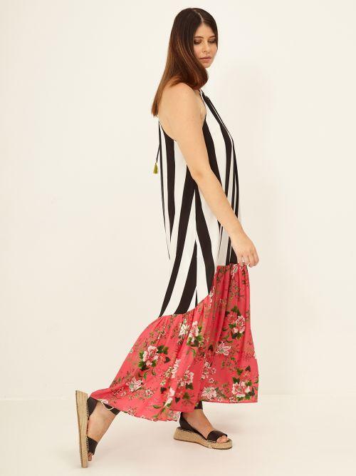 Αμάνικο ριγέ φόρεμα με φλοράλ τελείωμα