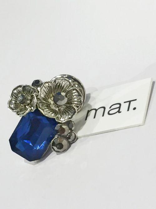 Καρφίτσα φλοράλ με μπλε πέτρα