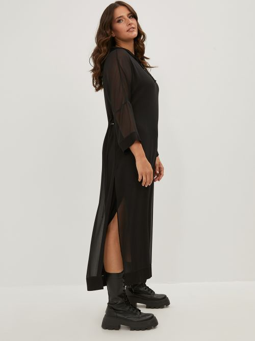 Hoodie dress with combination of fabrics