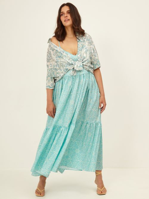 Tiered cami dress with prints