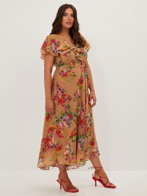 Frill neck floral print dress