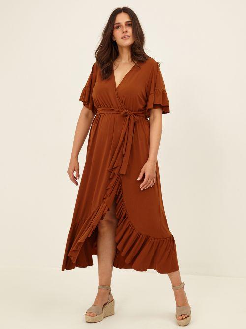 Φόρεμα κρουαζέ με βολάν