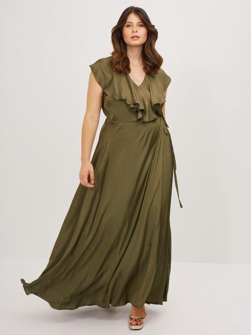 Φόρεμα κρουαζέ σατέν με βολάν