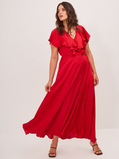 Frill neck satin wrap dress
