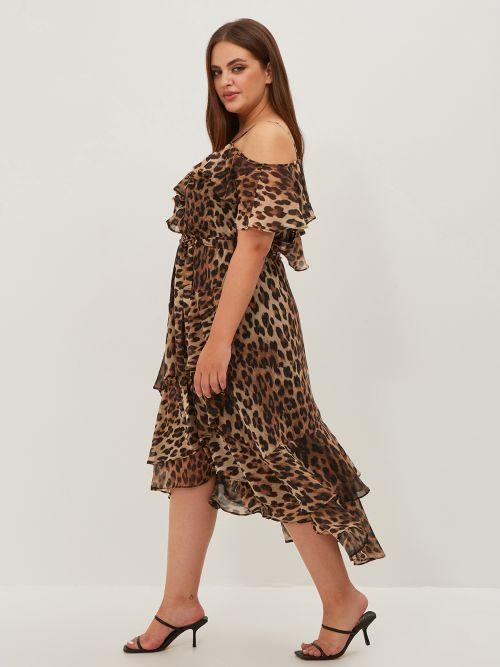 Φόρεμα animal print με βολάν