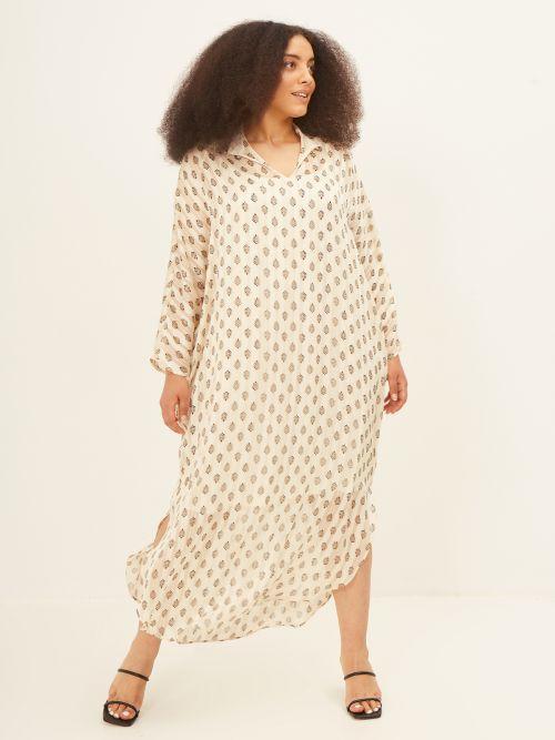 Graphic-print keyhole maxi dress