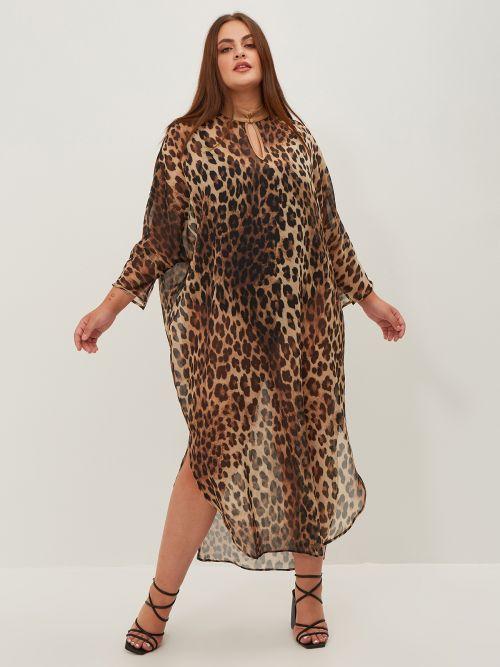 Φόρεμα maxi animal print με άνοιγμα στο λαιμό