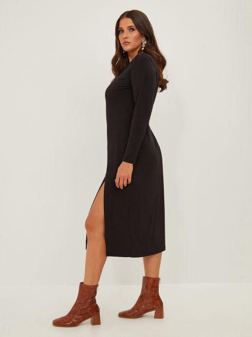 Super elastic split dress with cut out detail