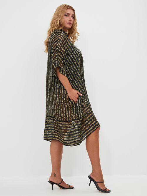 Φόρεμα μουσελίνα εμπριμέ αλυσίδες