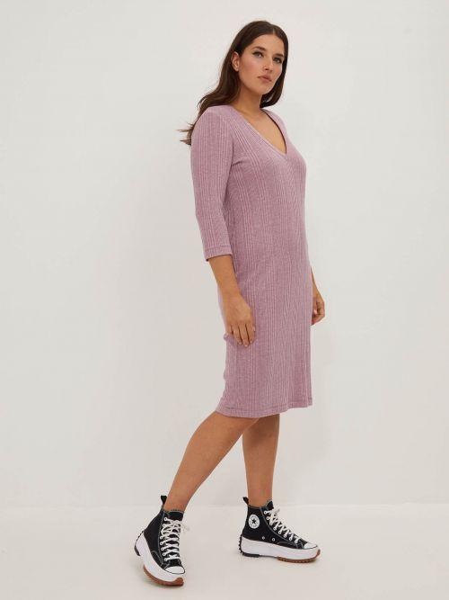 Φόρεμα ριπ με V λαιμόκοψη