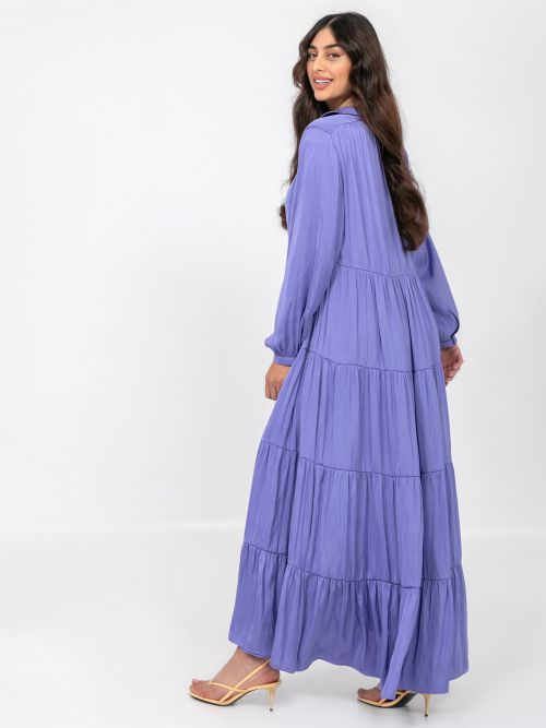 Maxi tiered satin dress