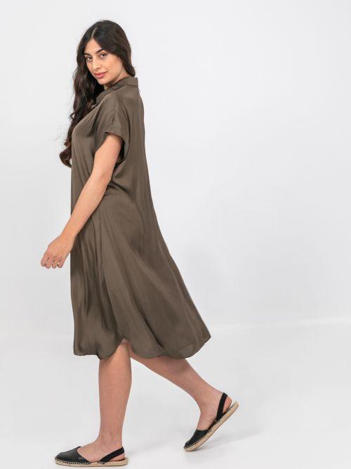 Satin shirt-dress