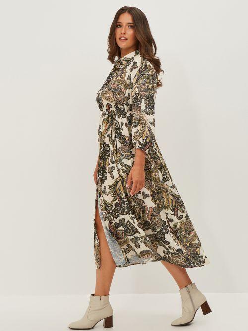 Φόρεμα σεμιζιέ εμπριμέ με ζώνη
