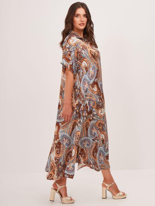 Paisley print satin dress