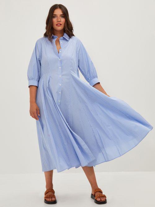 Pinstripe A-line shirt-dress
