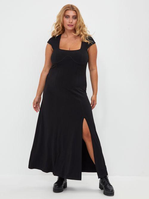 Super elastic square neck dress with front split