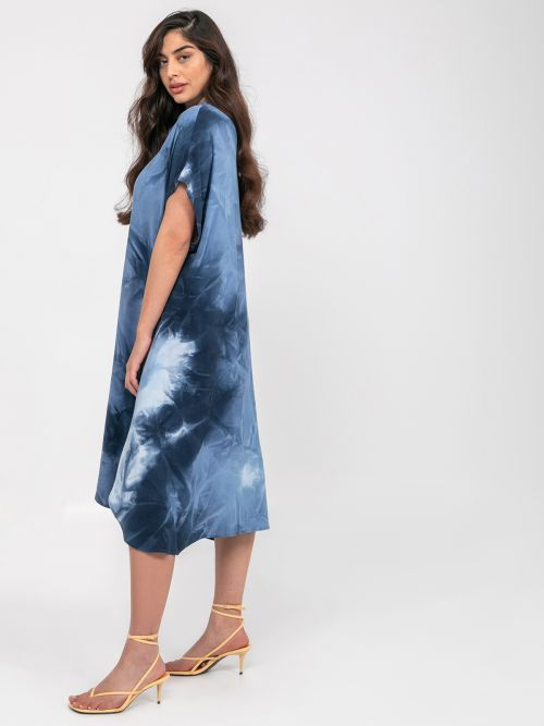 Viscose shirt-dress in  tie-dye print