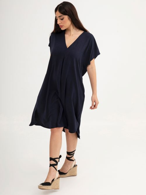 Crepe V-neck dress