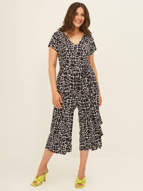 Cropped jumpsuit in graphic print