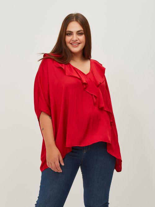 Frill neck satin blouse