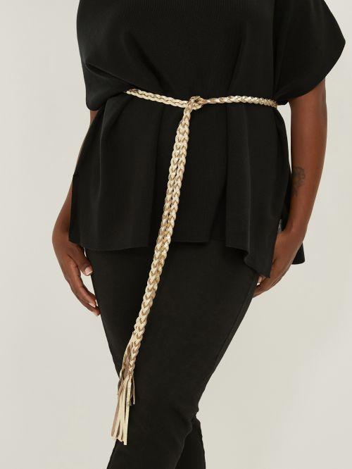 Gold leather wrap-around belt