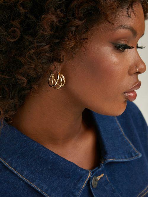 Σκουλαρίκια κρίκοι τριπλοί σε χρυσό χρώμα