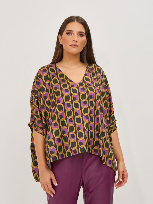 Graphic print V-neck blouse