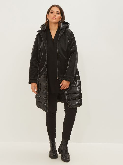 Hooded puffer coat with detachable hem