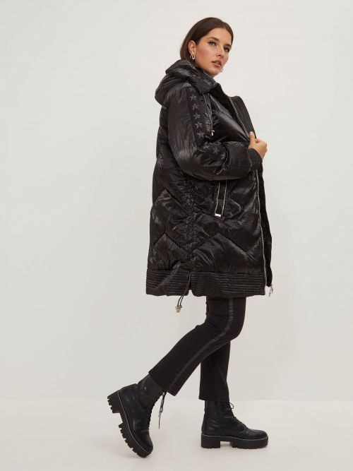 Hooded puffer coat with zipper