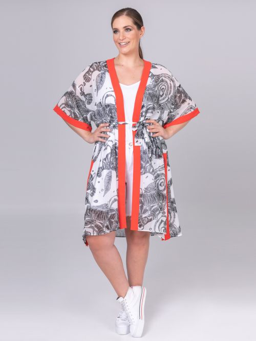 Chiffon kimono with contrast trims & belt | Online Exclusive