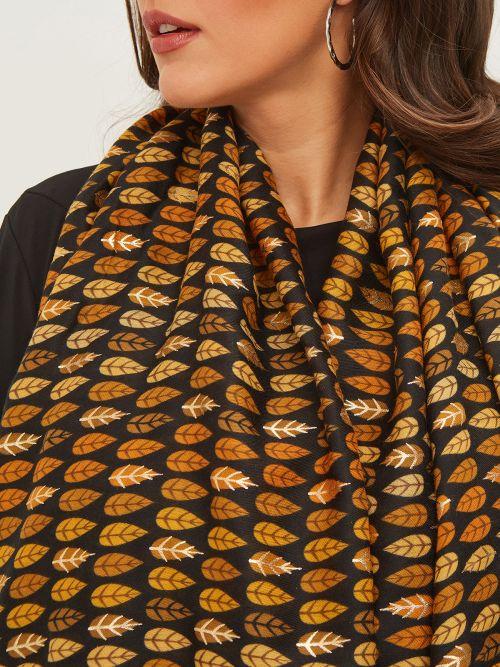 Leaf printed viscose shawl