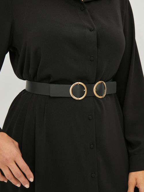 Leather belt with double circle buckle