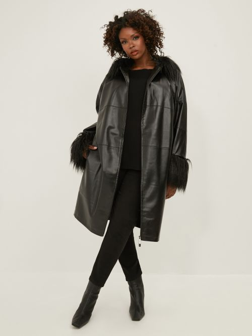 Leather like coat with faux fur trims