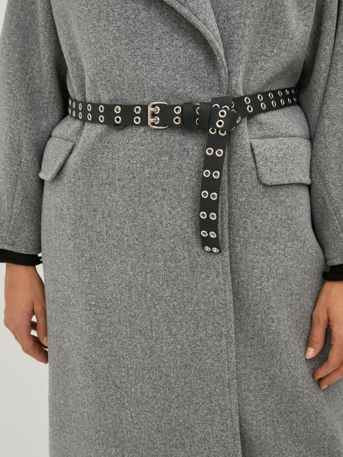 Leather square buckle belt with eyelets
