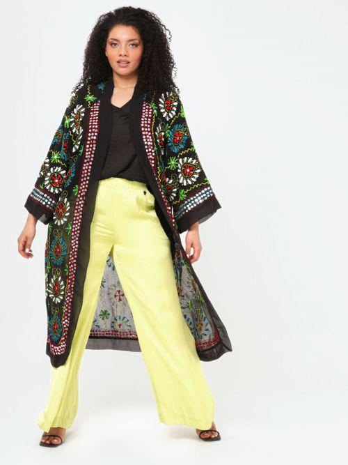 Long embroidered kimono