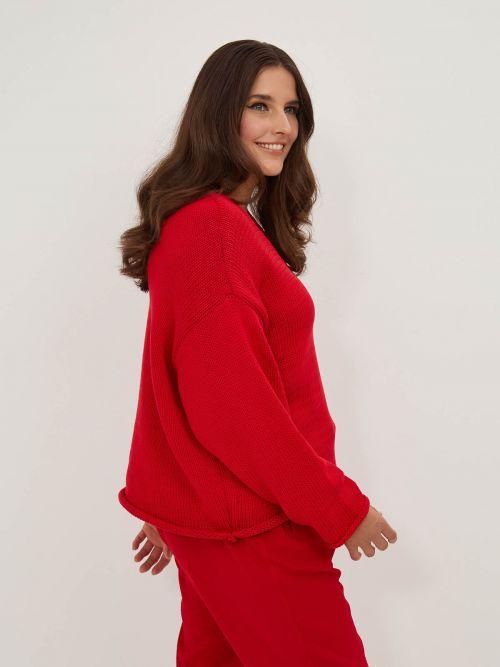 Long-sleeve V-neck jumper